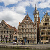 The medieval guild houses of Graslei quay, viewed from across the water. Ghent, Belgium