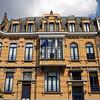 Ornate brick building in the EU District, Brussels, Belgium